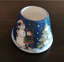 Home Interiors Snowman Ceramic Candle Jar Topper - Pre-owned