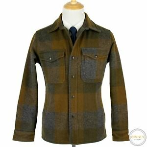 NWOT Filson Brown Grey Wool Flannel Plaid Two-Pocket Thick Unstructured Jacket S