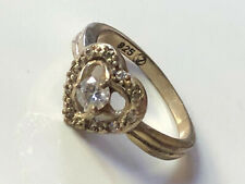 Sterling silver '925' & clear cubic zirconia stone heart band ring size N 1/2