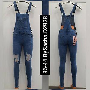 Women full Denim Dungarees Slim Fit Ladies Jumpsuit Light Wash Jeans playsuits