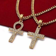 "Men's 14k Gold Plated High Fashion 2 pcs Cross & Ankh 3mm 30"" & 24"" Cuban Chain"