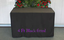 Trestle Table cover Fitted Black to fit 4 foot market fair folding stall show U