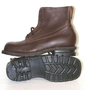WW2 Swedish Army Work Combat Boots, Full leather BROWN VINTAGE NEW COOL