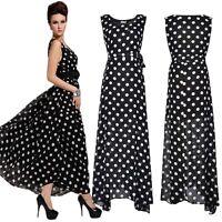 BN Ladies Women Polka Dot Summer Long Maxi Dress Skirt Chiffon Evening Size 8-22