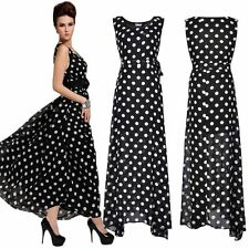 New Ladies Boho Polka Dot Summer Long Maxi Dress Skirt Chiffon Evening Size 8-22