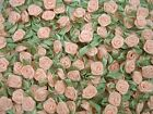 Ribbon Roses Satin Peach with Green Leaves Pack of 100 FREE POSTAGE