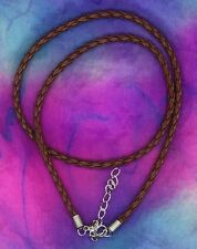 "Leather Cord 3 Mm Necklace Western Jewelry 17"" Braided Imported"