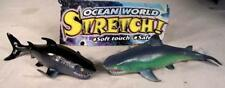 2 STRETCH TOY SHARKS novelty play shark ocean fish novelties toys new rubber