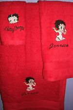 Sexy Betty Boop kneeling Personalized 3 Piece Bath Towel Set  Your Color Choice