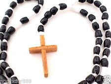 """Rosary Necklace Black wood beads Cross cotton cord knotted rosarie 24"""""""