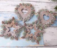 Pair Rustic Christmas Tree Decorations Cork Spruce Cone Glitter Heart Star Set 2
