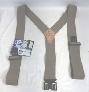 New Big and Tall Perry Suspenders Men's Leather Dress Hook End Suspenders Biege