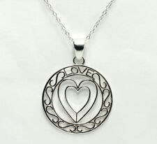 Sterling Silver Open Heart Filigree Circle Love Pendant Cable Chain Necklace