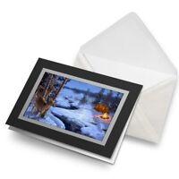 Greetings Card (Black) - Winter Camping Snow Scene Christmas  #46448