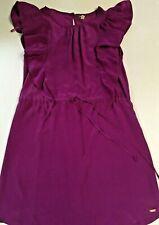 Roots Women Dress Purple Size Small 100% Silk Mini Sleeveless Drawstring Waist