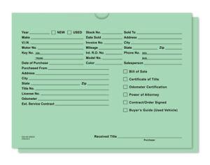 Deal jacket - Green - Auto Car Dealer Record Envelope - Qty 100 - #513-100