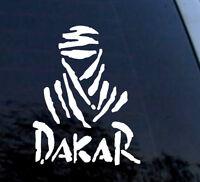 DAKAR White Vinyl Decal Sticker Car Motorbike Vehicle Window Helmet Rally +