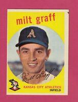 1959 Topps Baseball Card # 182 Milt Graff --  Athletics   (VG-EX)