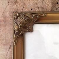 "9.6 x 7.6"" Antique Photo Frame Gold Danish Brass Convex Glass Bronze Farmhouse"