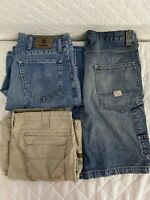 Lot Of 3 Mens Jeans Shorts Denim Cargo Levi Cabelas Wrangler 34