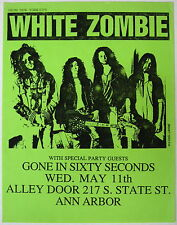 WHITE ZOMBIE Alley Door MICHIGAN 1988 CONCERT Flyer METAL Rob YSEULT Minty