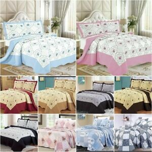 3 Pcs Quilted Bedspread Comforter Throw Embroidered Bedding Set Double King size