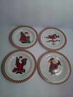 "(4) Sakura Debbie Mumm Magic of Santa 8 1/8"" Salad Dessert Plates - Very Good"