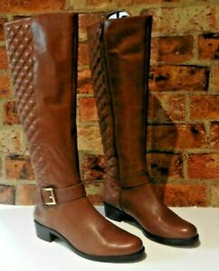 DUNE DARK TAN QUILTED LEATHER FULL  ZIP TALL BOOTS SIZE 38  UK 5
