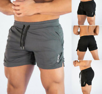 Men Swim Fitted Shorts Bodybuilding Workout Gym Running Tight Lifting Shorts Bu