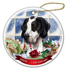 Black and White English Pointer Dog Porcelain Ornament Santa I Can Explain!