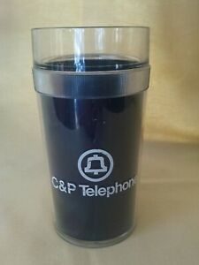 C&P TELEPHONE TUMBLER PLASTIC BELL LOGO PHONE COMPANY NAVY BLUE ST TROPEZ USA*