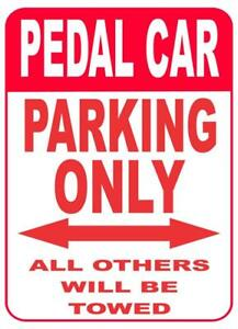 "Pedal Car Parking Sign Red & White .040 Aluminum 9"" x 12"" NEW"