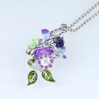 Pretty Enamel Purple Butterfly 925 Silver Pendant Necklace Women Leaf Flower Art