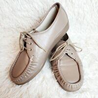 SAS SIESTA Women's Moc Oxfords Mocha Leather Comfort Shoes Size 9B EUC