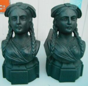 BEAUTIFUL FRENCH PAIR OF ANDIRONS DEPICTING A TYPICAL ALSACIAN WOMAN