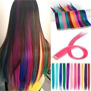 2x Multi Colours Rainbow Clip In Highlight Streaks Festival Long Hair Extensions