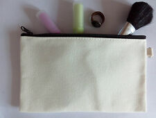 10x Eco Blank Canvas Makeup bag DIY Wash clutch bag Gift Pencil Case Phone Pouch