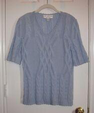 ST. JOHN COLLECTION Powder Blue Short Sleeve Sweater Top ~ SZ 6