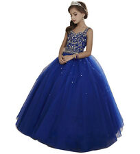 Royal Blue Handmade Organza Pageant Prom Length Wedding Party Dresses