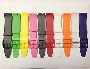 Plastic Resin SWATCH Replacement Watch Strap -17mm In 11 colours