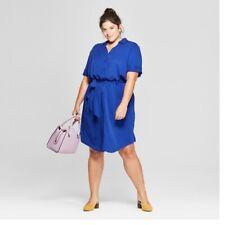 88809bb93 Ava & Viv Belted Shirt Dress Womens Plus Size 3X Royal Blue Rayon Button  Spring