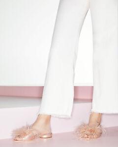 Loeffler Randall Lily Feather Slide Sandal - Rose Gold Pink - Size 7