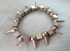 Silver Tone Metal Spike Bangle Bracelet Punk Goth Boho Chic Style Stretch