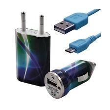 Mini Chargeur 3en1 Auto + Secteur USB + Câble Data avec CV03 pour HTC : One /