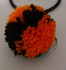 """Key Chain with 2.5"""" Yarn Pom-Pom Attached-- Color-Black and Pumpkin"""