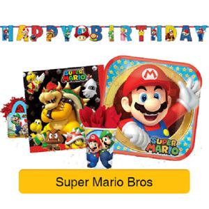 SUPER MARIO - Birthday PARTY RANGE (Tableware, Balloons & Decorations)Amscan(1C)