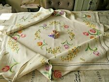 More details for vintage hand embroidered linen tablecloth- beautiful tulips and primroses