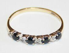 Pretty 9ct Gold Sapphire & Diamond Eternity Ring Size O