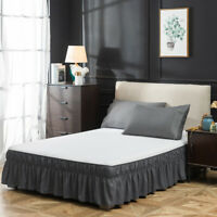 """16"""" Drop Elastic Dust Ruffle Bed Skirt Easy Queen Size Fit Wrap Around Bed Gray"""