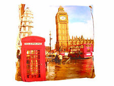 PHONE BOX BIG BEN RED BUS PRINTED CUSHION COVER LONDON NOVELTY